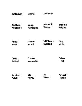 Antonym Flash Card Game