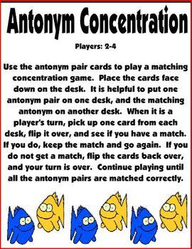 Antonym Go Fish Card Game / Antonym Concentration (Learning Center)