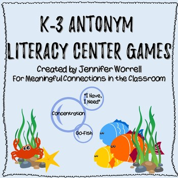 Antonym Literacy Center Games for Grades K-3