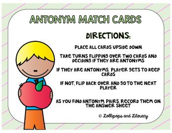 Antonym Match Cards