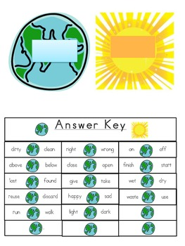 Antonym Match Earth Day