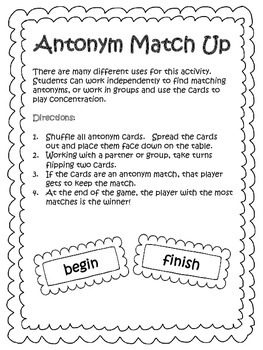 Antonym Match Up