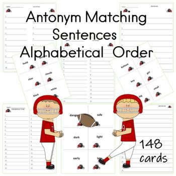 Antonym Matching Cards Football Theme