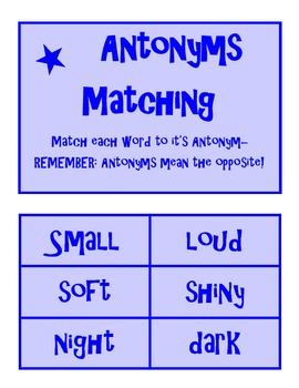 Antonym Matching and worksheet