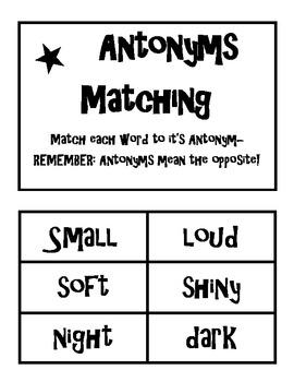 Antonym Matching and worksheet black and white
