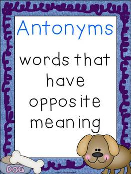 Antonym Memory Game Cards and Poster Puppy Theme