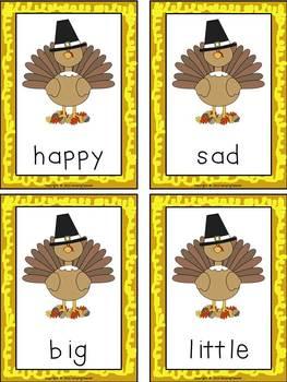 Antonym Memory Game and Poster - Thanksgiving Theme