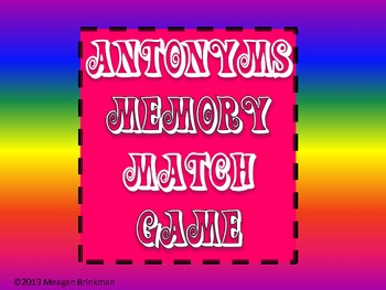 Antonym Memory Match Game Colorful
