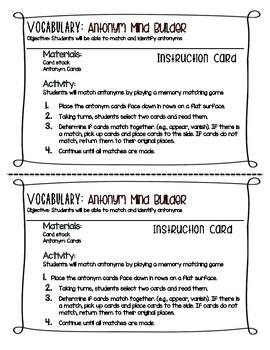 Antonym Mind Builder Activity