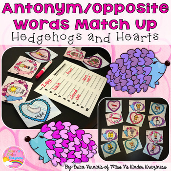 Antonym/Opposite Word Match Up: Hedgehogs and Hearts