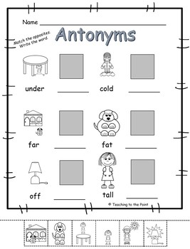 Antonym (Opposites) Pack - Use for centers, printables, assessments