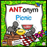 Antonym Speech Therapy Games plus No-Prep Worksheets