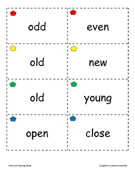 Antonym Play Cards - 3 Games! - Match Mine, Memory, and Opposites Attract