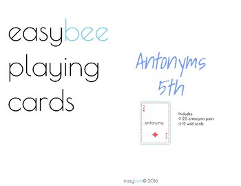 Antonym Playing Card Deck 5th Grade