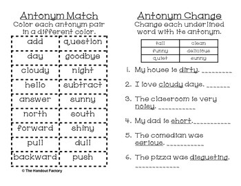 Antonym Poster and Interactive Booklet