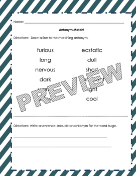 Antonym Practice Pack and Craft