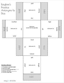 Antonym Print and Fold Dice 1st Grade