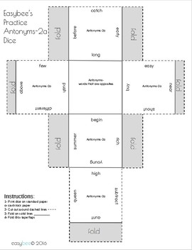 Antonym Print and Fold Dice Kinder - 5th Grade