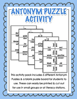 Antonym Puzzle Activity for Grades 2, 3, 4 {Literacy Station}