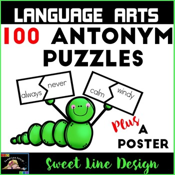 Antonym Puzzle Piece Matching, a Poster and Printables {Sweet Line Design}