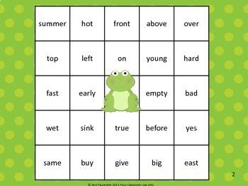 Antonym Reverse Bingo