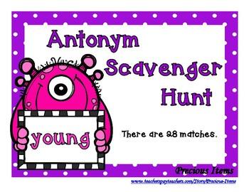 Antonym Scavenger Hunt - Monster Cards