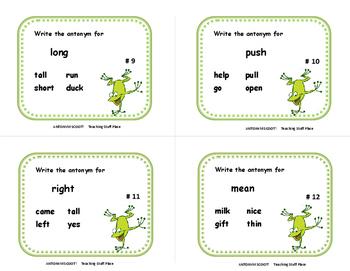 SCOOT!  Antonym UNIT | TASK CARD GAME | REVIEW  | Gr. 1-2  Vocabulary LIST