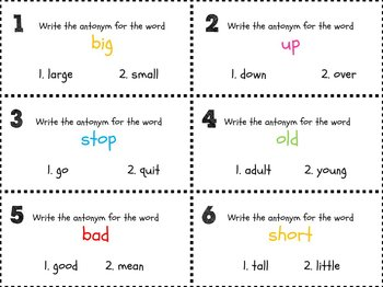 Antonym Scoot Game-30 cards