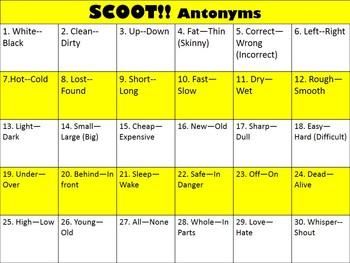 Antonym Scoot Game --Brain break, ELA review
