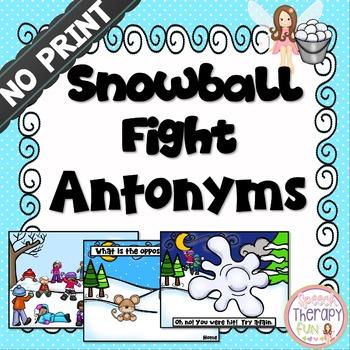 Antonym Snowball Fight Game - No Print