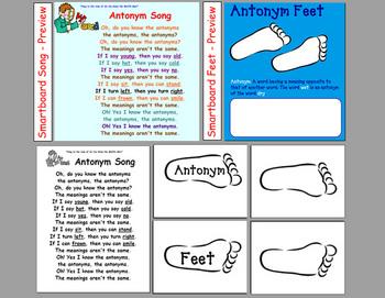 Antonym Song & Feet - documents & Smartboard files