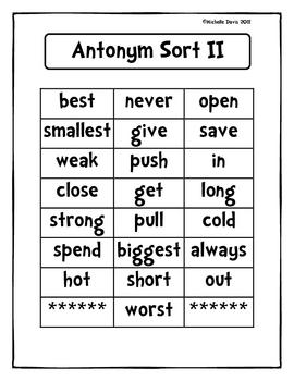 Antonym Sorts