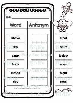 Antonym Sorts | Cut and Paste Worksheets