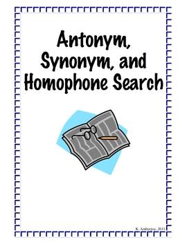 Antonym, Synonym, Homophone Search