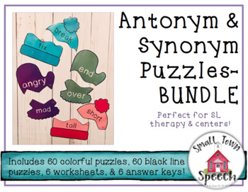 Antonym & Synonym Puzzles Worksheets BUNDLE- Winter- Speech & Language Activity