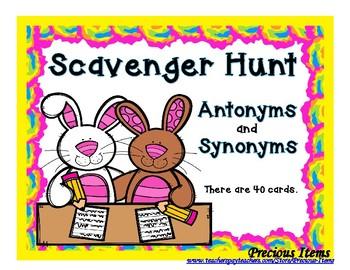 Antonym & Synonym Scavenger Hunt - Bunnies