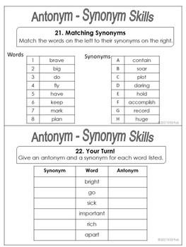 Antonym Synonym Vocabulary Building Task Cards Sampler