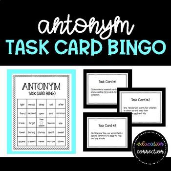 Antonym Task Card Bingo