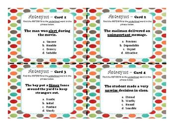 Antonym Task Cards (2 sets of 24)