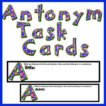 Antonym Task Cards 33 Cards! Great test prep .