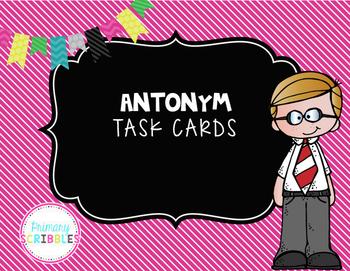 Antonym Task Cards Set 2  Color and Black/White Versions