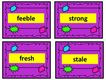 Antonym Task Cards!  They are great for reading and writing. Purple Set