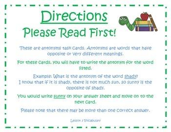 Antonym Task Cards for Journeys 3rd Grade
