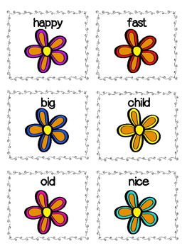 Antonym Word Match - Spring Flower Theme