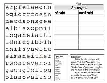 Antonym Word Search and Word Sort Activity Sheet - King Virtue