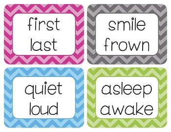 Antonyms Word Wall Cards