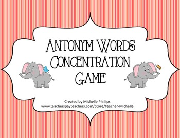 Antonym Words Concentration Game! - Literary Center Game
