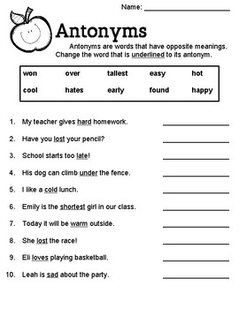 Antonym Worksheet