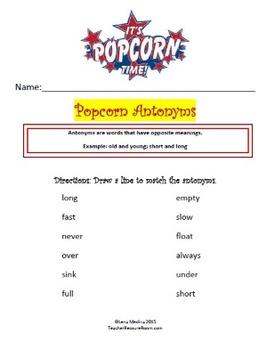"""Antonym Worksheet Unit: """"'Popcorn"""" Theme"""