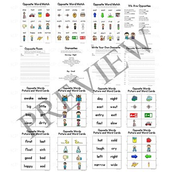 Antonym and Opposite Words Activity Packet and Worksheets